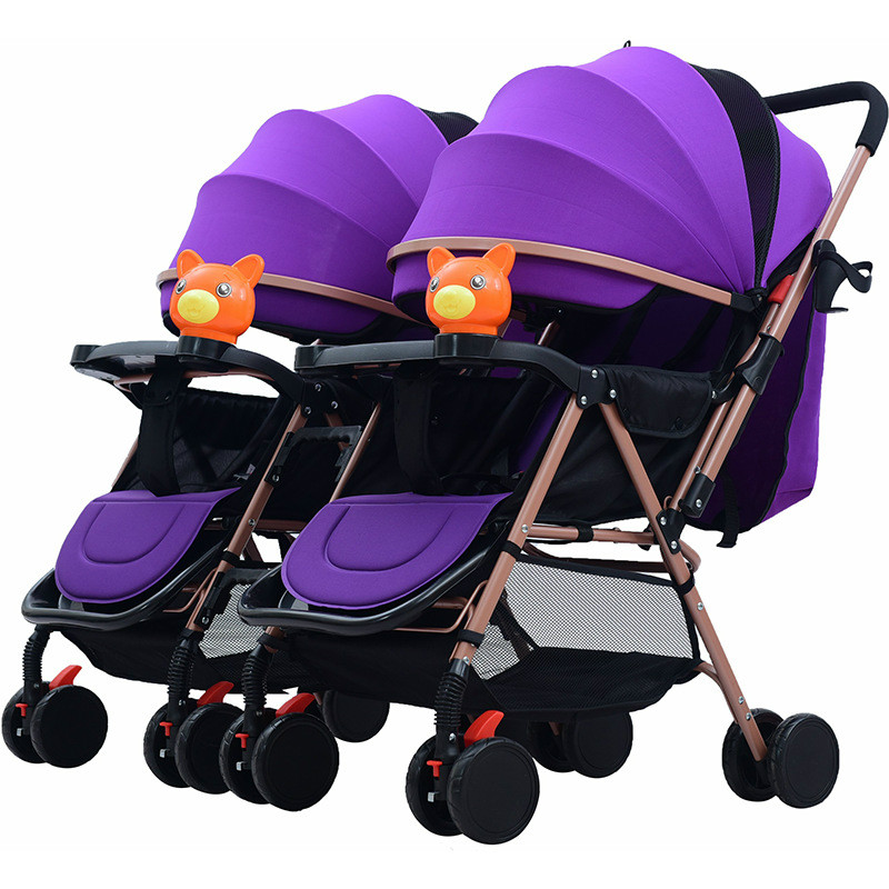 Twin Stroller Baby Pram Detachable Two-way Double Light Can Sit Can Lying Folding Multi-tuber Trolley Double Stroller