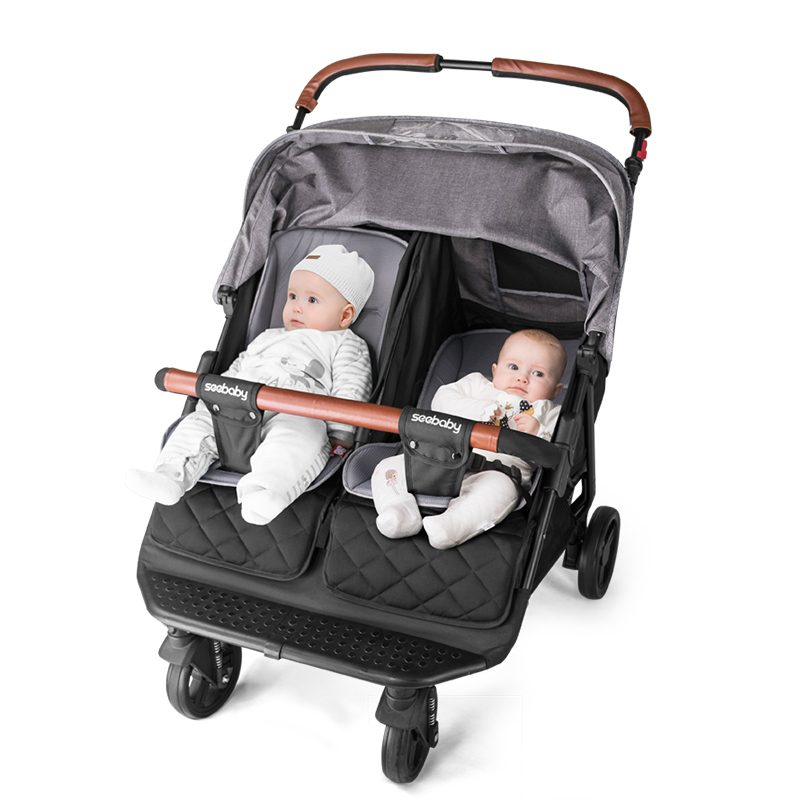 Twin Stroller Light Can Sit Lie Four-wheel Shock Newborn Baby Twin Trolley