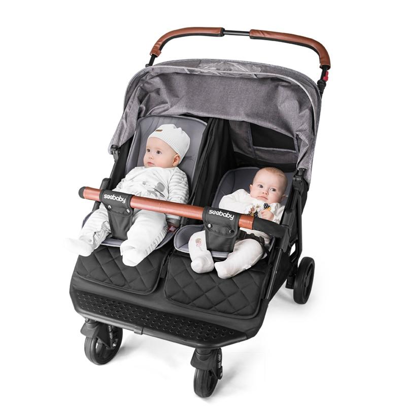 Twin Stroller Light Can Sit Lie Four-wheel Shock Newborn Baby Twin Trolley