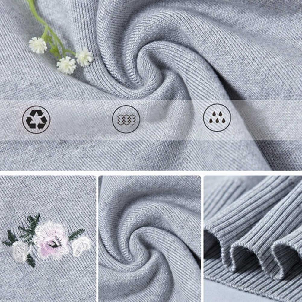 여성 패션 꽃 자수 o 넥 풀오버 니트 점퍼 스웨터 니트 스웨터 풀오버 니트 캐주얼 streetwear
