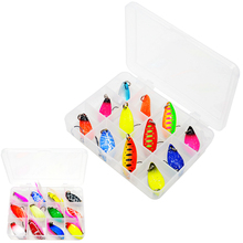 WLDSLURE 12 pz/scatola esche da pesca Set metallo Spinner cucchiaio attrezzatura da pesca scatole Wobblers esche rigide ganci