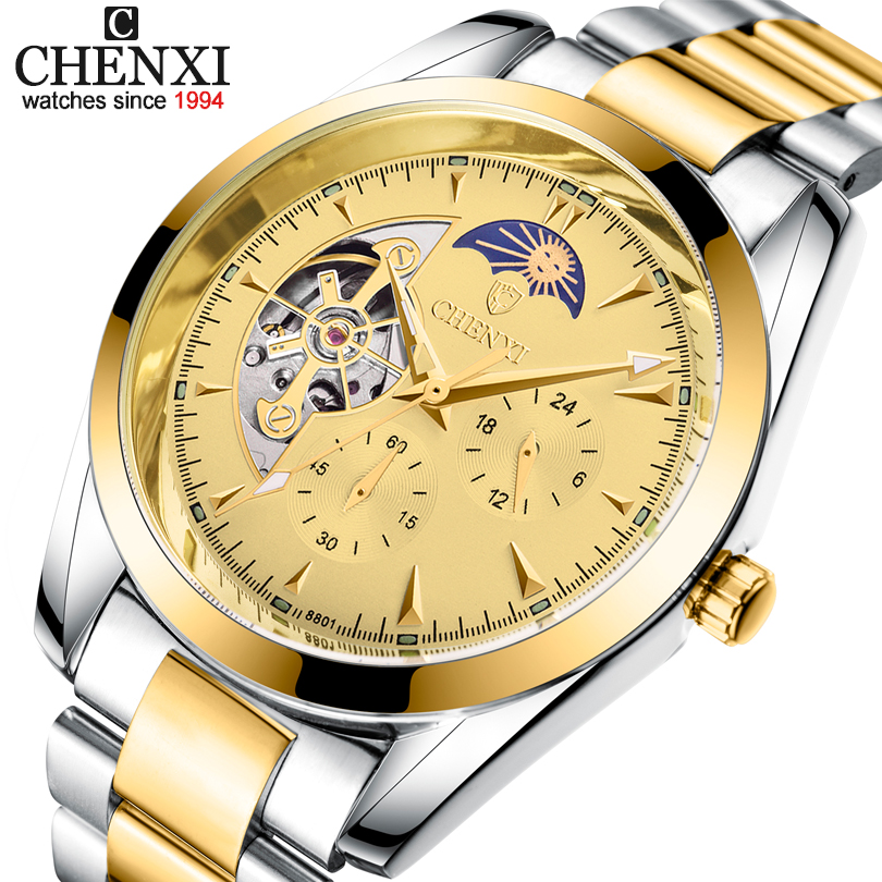 CHENXI Tourbillon Mechanical Watch Men Automatic Classic Multi Function Display Mens Automatic Mechanical Watches Reloj Hombre