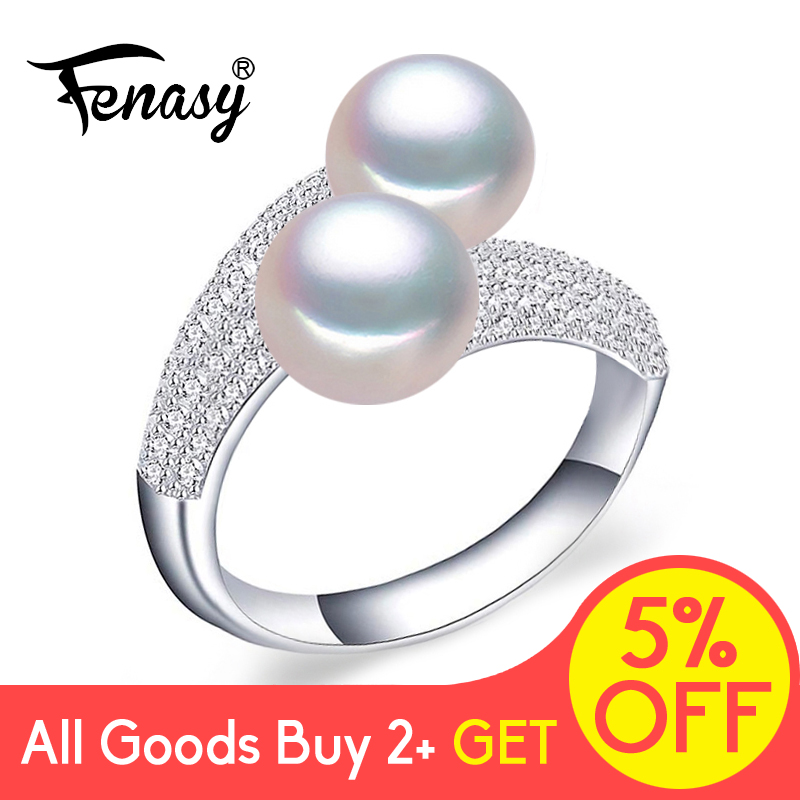 FENASY 925 Sterling Silver Double Pearl Rings For Women Pearl Fashion Jewelry Love Luxury Cubic Zirconia Promise Adjustable Ring
