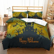 Dropshipping Halloween Black Castle Microfiber Home Duvet Cover Set 3D Print Bedding Pumpkin Bed Linen 2/3pcs No Sheet