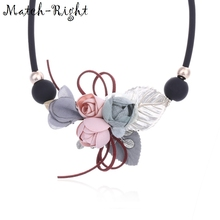 Match-Right Women Necklace Statement Necklaces amp Pendants Flower and Leaf Necklace For Women Jewelry SP253 cheap zinc Alloy None Chokers Necklaces TRENDY Rope Chain Yarn GEOMETRIC Other 42cm Necklaces Pendant Vintage Necklace Trendy Necklace
