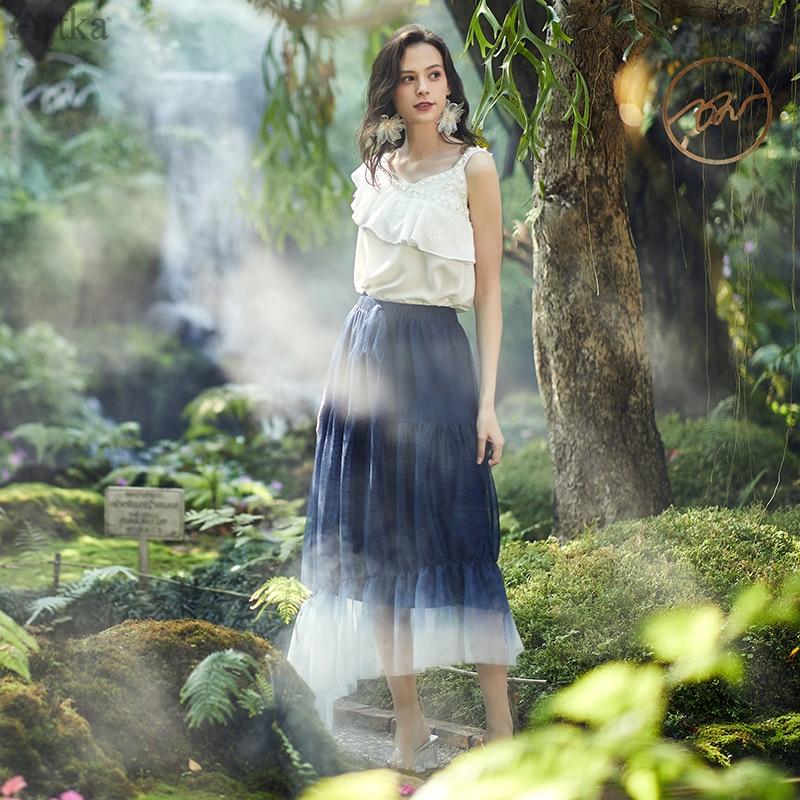 ARTKA 2020 Spring Summer New Women Skirt Elegant Gradient Mesh Skirts Elastic Waist Irregularly Ruffled Long Skirt QA25101C