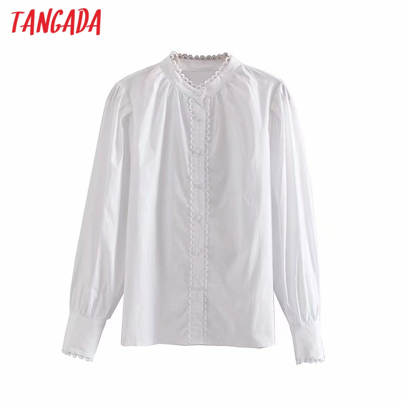Tangada Women White Lace Patchwork Blouse 2019 Autumn Winter Vintage Long Sleeve OL Shirts Chic Tops 4M91