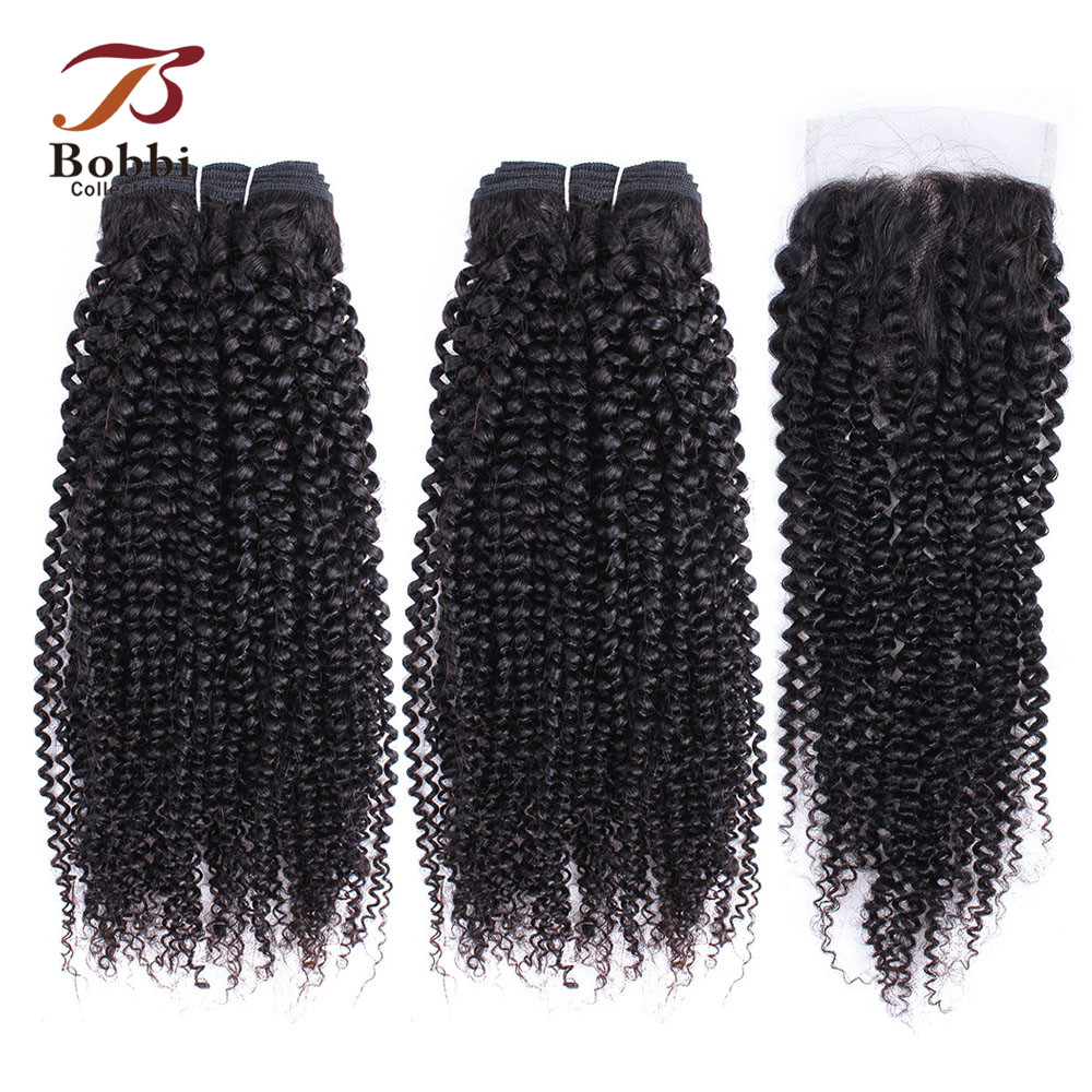 BOBBI COLLECTION Afro Kinky Curly Hair Bundles With Closure Indian Non Remy Human Hair Weave Natural Black Hair Extensions