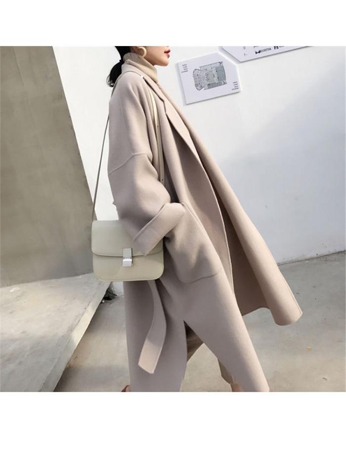 Liva girl Long Coat Winter Coat Women Belted Solid Coat Women's Jacket Women's 5 Colors Coat wool Coat 6