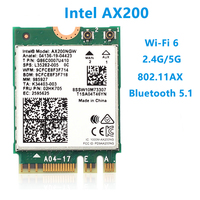 Tarjeta Wifi para ordenador portátil, dispositivo inalámbrico de doble banda M.2, Wifi 6, Intel AX200, 2974Mbps, Bluetooth 5,0, 802.11ax, MU-MIMO, AX200NGW, Windows 10