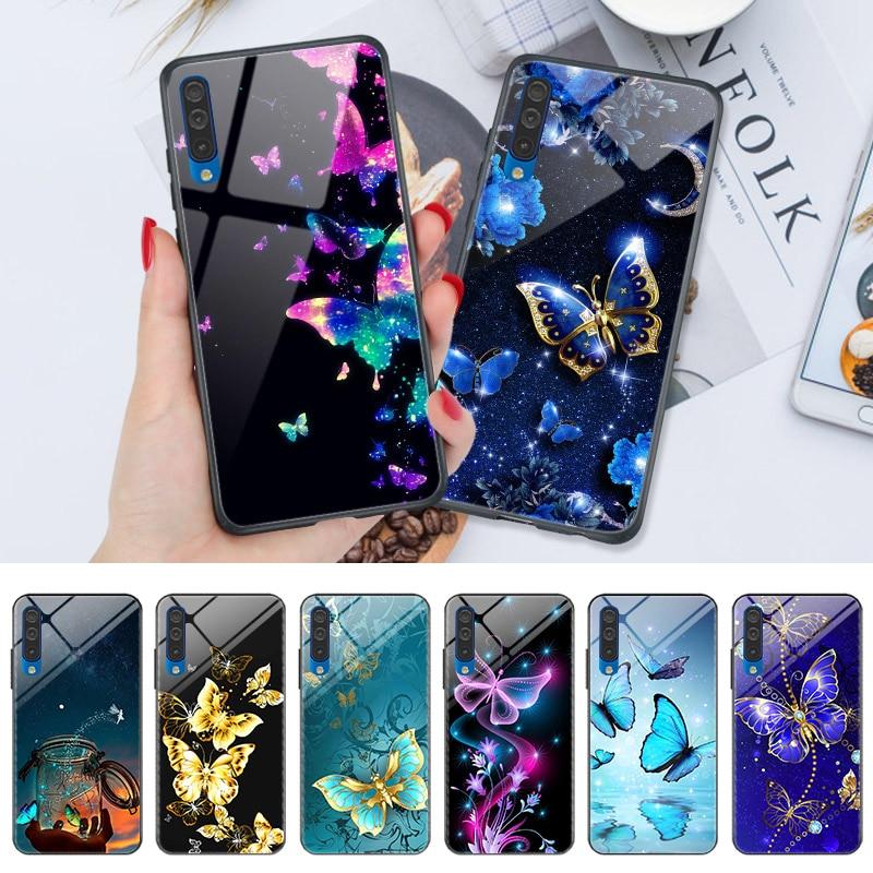 Butterfly For PC Samsung A10S A20S A30S A50S A50 A30 A20E A10 A40 A70 Mirror Phone Case For Samsung A3 A5 2016 A9 A7 A8 A6 2018