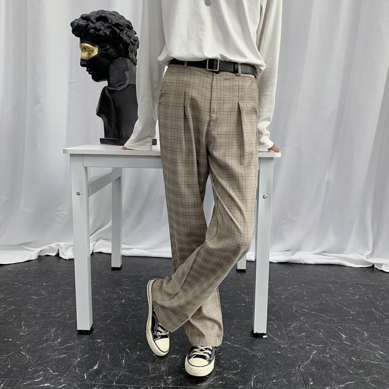 EWQ / Men's Wear Wide Leg Pants Spring Summer Plaid Vintage Suit Pants 2020 Nwe Loose Casual Long Pants Trousers Korean 9Y1826