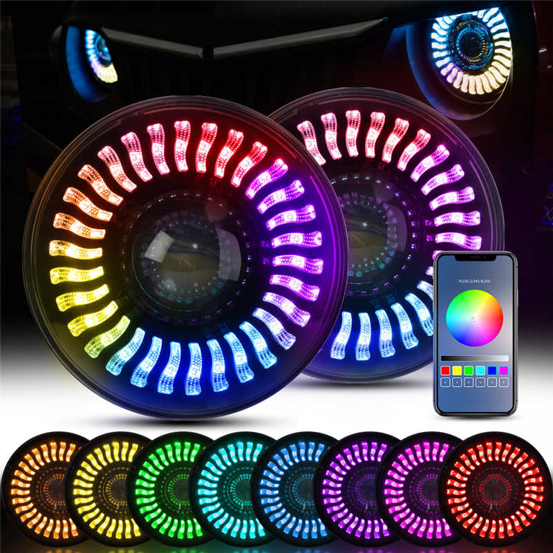 Micضبط 7 بوصة LED المزدوج شعاع المصباح مع RGB تدفق ضوء هالو عيون الملاك DRL بلوتوث التحكم ل جيب رانجلر JK LJ TL