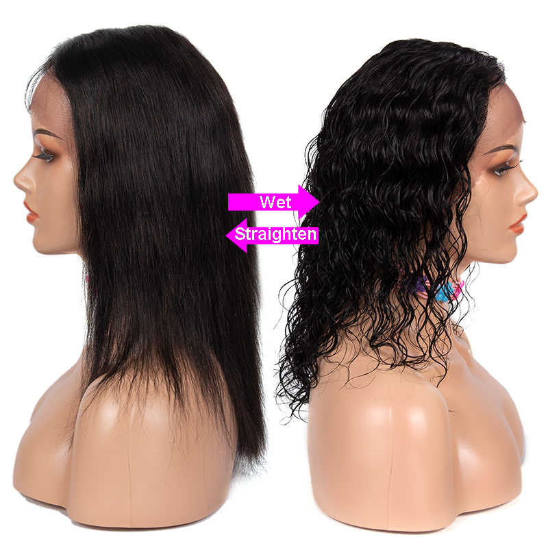 Żurawina mokre i faliste kręcone krótkie koronki przodu włosów ludzkich peruk 1*4 głębokie rozstanie 150 gęstości Remy koronki przodu peruki dla czarnych kobiet