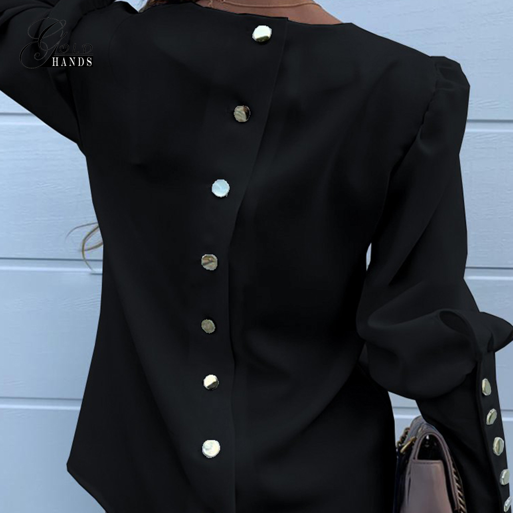 Gold Hands Office Wear Women Street Fashion Blouses Long Sleeve Back Metal Buttons Shirt Casual O Neck Solid Tops Autumn Blouse