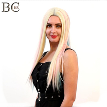 BCHR 22 Inch Straight 13*4 Lace Front Wig Synthetic for White Women Blonde Blue Pink Colorful Rainbow Cosplay Fairy