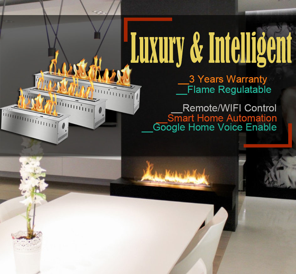 Hot Sale 60 Inches Stainless Steel Automatic Chimney Indoor Remote Ethanol Burner