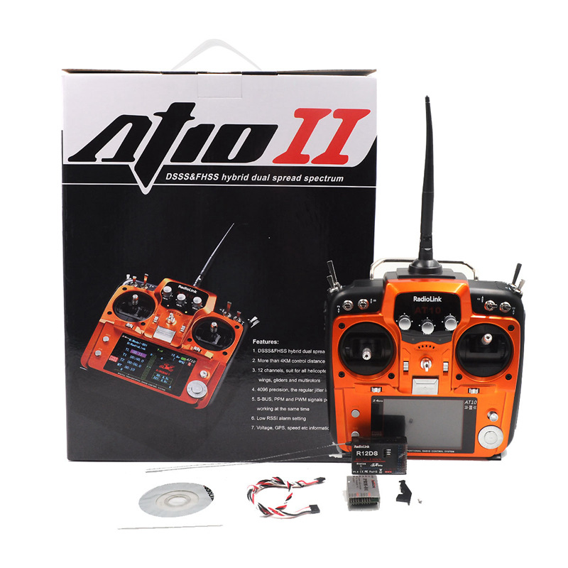 Melody At10 Second Generation 12 Channel 2.4G Model Aircraft Remote Control At10ii Multi-Axis Fixed-Wing R12ds Receiver