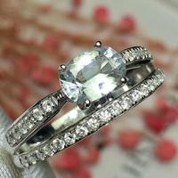 White Sapphire Ring Real Pure 18 K Natural White Sapphire Gemstones 1.1ct Diamonds Stone Female Ring