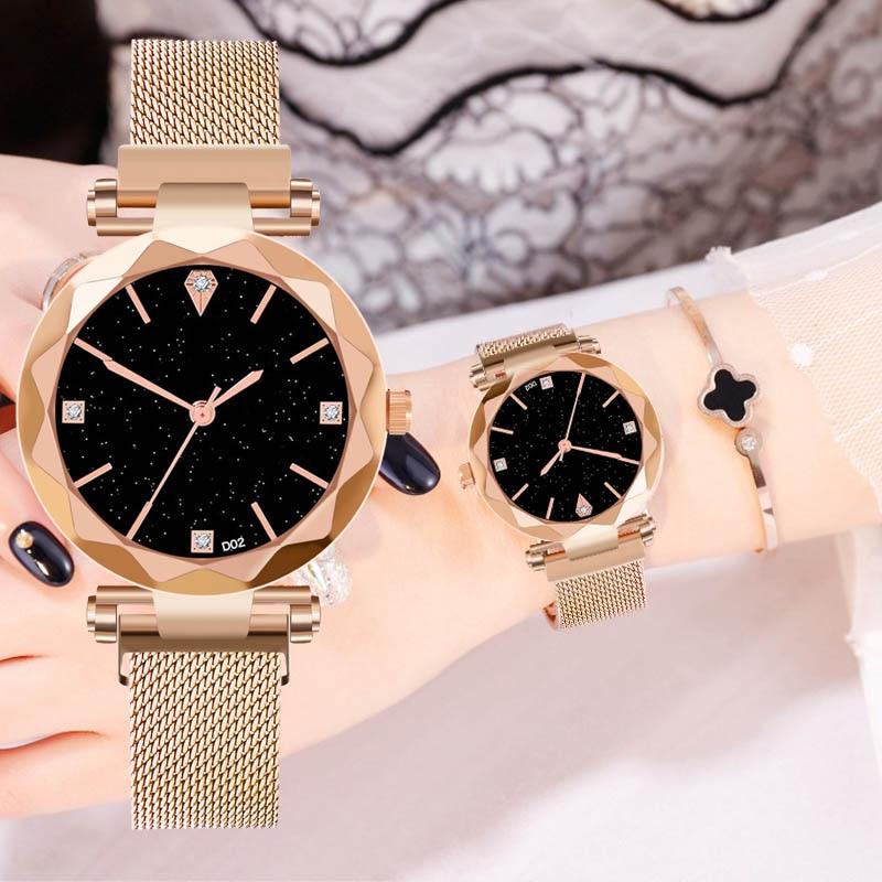 Luxury Women Watch Starry Sky Analog Quartz WristWatch Female Stainless Mesh Strap Simple Casual Girl Gift Reloj De Dama