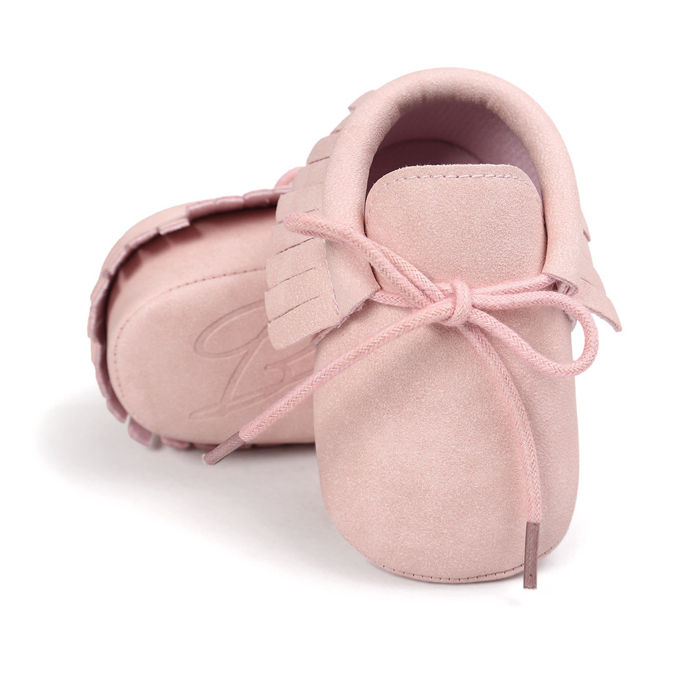 Baby Shoes Newborn Infant Boy Girl Classical Lace-up Tassels Suede Sofe Anti-slip Toddler Crib Crawl Shoes Moccasins 10-colors 3