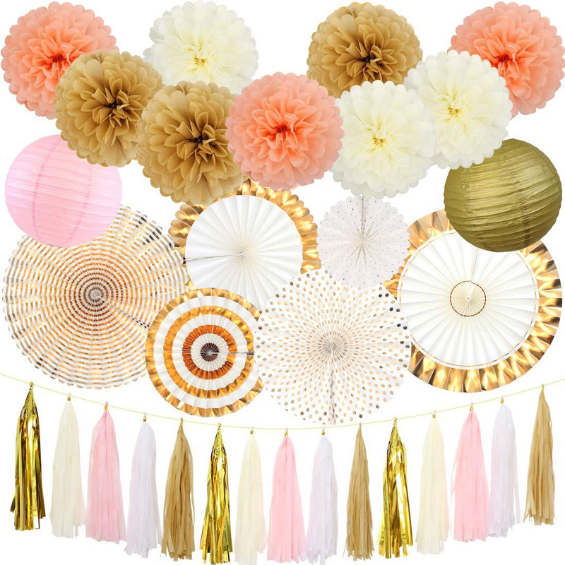 DIY Paper Crafts Fans Tassel Pompon Lantern Hanging Flower Baby Shower Wedding Birthday Festival Bridal Party Decorations