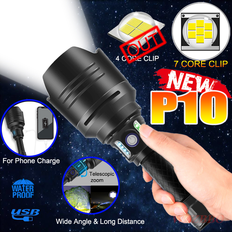 New Super Bright 7-Core P10 LED Flashlight With Oversized Convex Lens Glare Adventure Lighting With Power Bank Function 18650