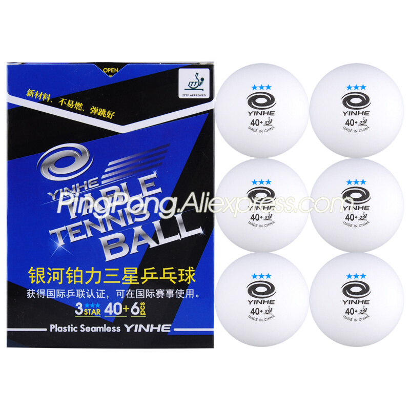 YINHE Seamless 3-Star Table Tennis Ball Galaxy Plastic White YINHE Poly 3 STAR Ping Pong Balls ITTF Approved