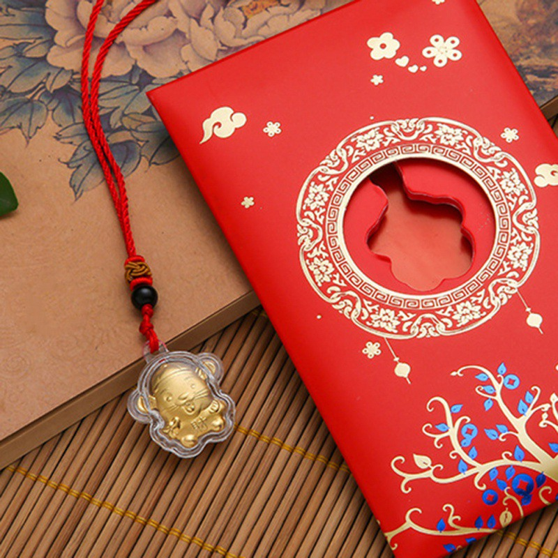 2020 Chinese Mouse Rat Year Necklace Zodiac Rat Year Charm Pendants Plated Red Pendant Necklace Birthday Gold Gift Bags