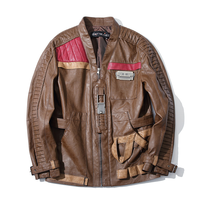 New Star Wars Finn Cosplay PU Leather Jacket Cosplay Costume Faux Leather Coat For Men M-4XL High Quality