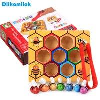 Juguete educativo de madera Montessori para niños, colmena de colores cognitivos, juguete de abeja pequeña