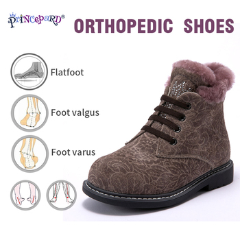 Princepard winter 100% natural fur orthopedic shoes for girls 23-28 size orthopedic boots for kids soles TPR