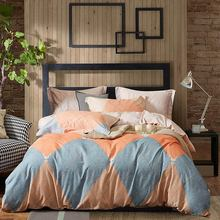 Pillowcase Bedding-Set Duvet-Cover Fitted-Sheet Linens Grey Printed Sanding Cotton Thick