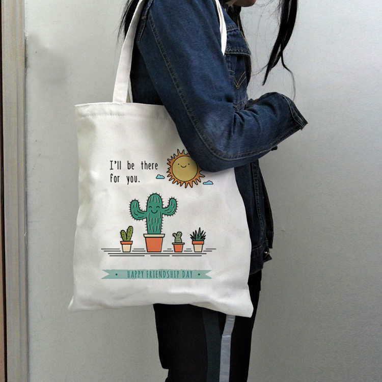 I Will Be There For You Cute Cactus Canvas Shoulder Bags Female Eco Cloth Handbag Tote Grocery Reusable Foldable Shopping Bag