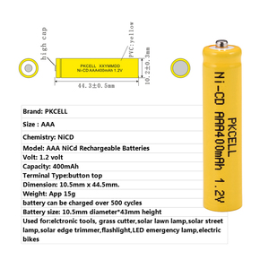 Image 4 - 6 шт. PKCELL AAA nicd Батарея 400 мАч 1,2 в перезаряжаемая батарея Кнопка NICD Топ для солнечных ламп без PCB