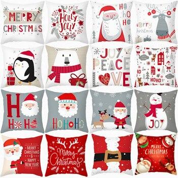 Merry Christmas Cushion Cover Santa Claus Elk Joy Christmas Decorations for Home 2020 Xmas Navidad Noel Gift Happy New Year 2021 wooden christmas advent calendar merry christmas decorations for home noel xmas 2021 new year gifts santa claus ornament navidad