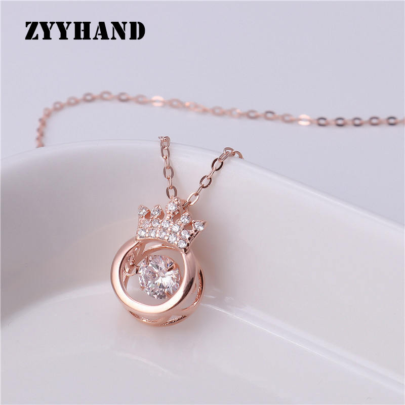 Rose Gold Alloy Crown Throbbing Zircon Necklace Women 2020 Latest Wedding Royal Style 3 Colors Clean Stone Lady Party Jewelry|Pendant Necklaces| - AliExpress