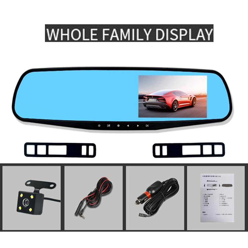 Full HD 1080P Car DVR Camera Auto 4 3 Inch Rearview Mirror Digital Video Recorder Dual Lens Camera Drop Shipping in DVR Dash Camera from Automobiles Motorcycles