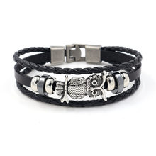 NEW owl leather bangle men jewelry alloy arrow skull charm black brown color punk style(China)