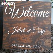 Decally Happy Weding персонализированное имя наклейки на стену, применяемые для свадебного украшения, все виды типов могут быть выбраны