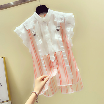 цена Ruffled Sleeveless Striped Lace Chiffon Shirt Blouse for Women Female Summer Loose Stand Collar Shirt Blusas Mujer De Moda 2020 онлайн в 2017 году