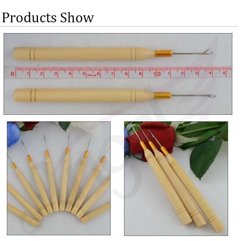 Деревянная ручка крючок иглы/микро кольца/петля иглы для наращивания волос, инструменты для наращивания волос обычный маленький пакет