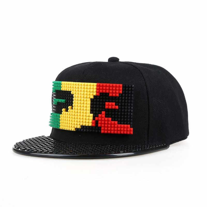Novo quebra-cabeça blocos diy legos boné de beisebol bob marley pixels super-herói pai chapéus snapback boné para homem e mulher destacável