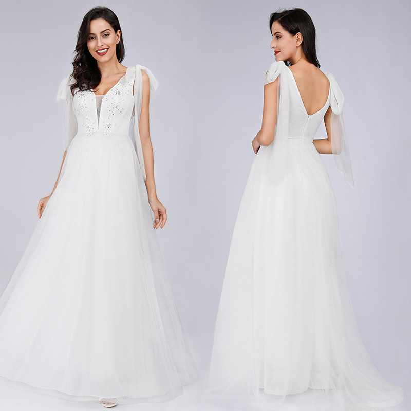 V Neck Wedding Dresses Shiny Crystal Floor Length Vestido De Novia R143 Tulle A-Line Bridal Dress Bandage Tank Vestidos De Noiva