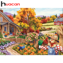 Huacan Diamant Malerei Set Landschaft Mosaik Garten Dekorationen Für Home Stickerei Herbst Landschaft Handgemachtes Geschenk Diamant Kunst