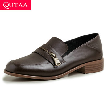 QUTAA 2020 Casual Round Toe Spring Single Shoes Square Low Heel Zipper Ladies Pumps Cow Leather Slip on Women Shoes Size 34-39