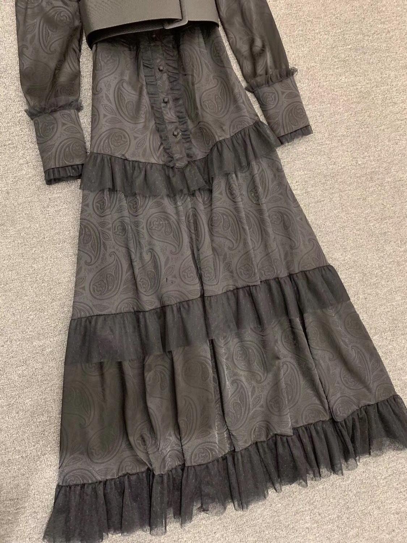 LINGHAN Imprimiu o Vestido Maxi do vintage das Mulheres Sexy Malha Patchwork Elegante Vestidos Plissados Partido Marca Designer Novo - 6
