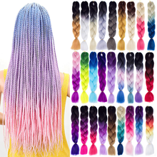 Kong&Li Synthetic hair Braids Ombre Braiding Hair Extension Box Braid Hair Pink Purple Yellow Golden Colors