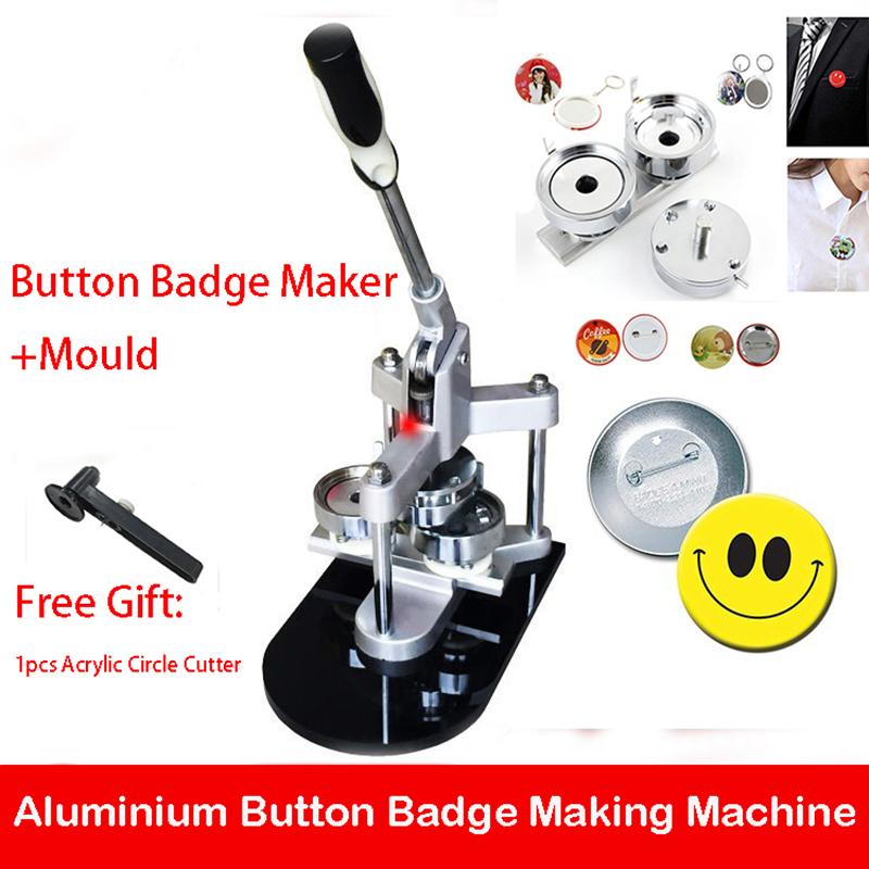 Badge Press Machine Button Badge Maker DIY Button Badge Making Machine With 25mm/32mm/37mm/44mm/50mm/56mm/58mm/75mm Mould