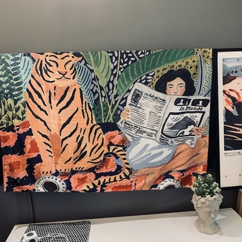 Animal series design Nordic INS hanging tapestry background cloth Boho Decor Wall Cloth tapestry jungle tiger girl